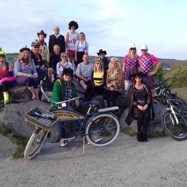 Crazy people enjoying the Camel Trail with Bridge Biek Hire