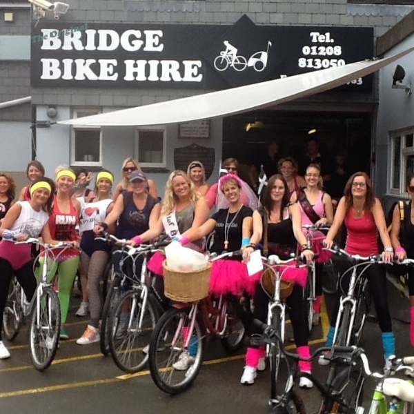 hen doo's with Bridge Bike Hir eont he Camel Trail