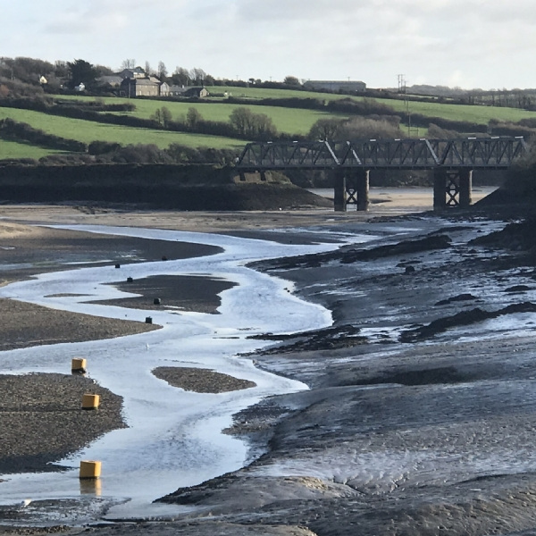 very low tide on the camel trail january 2019