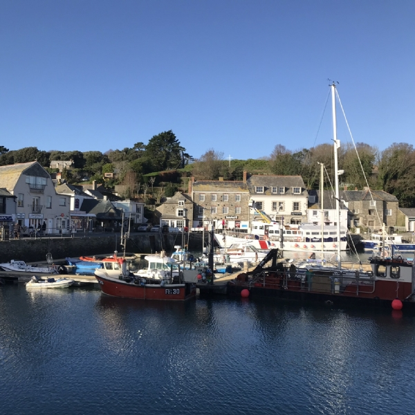 Blue skies over Padstow from the camel trail january 2019